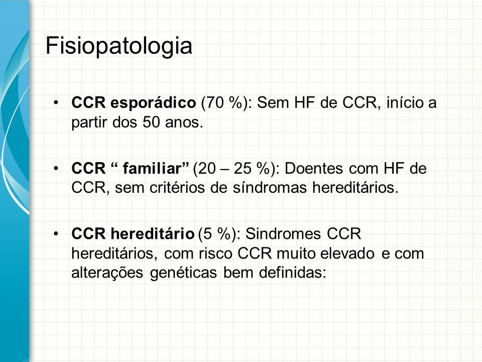 Fisiopatologia CCR esporádico (70 %): Sem HF de CCR, início a partir dos 50 anos.