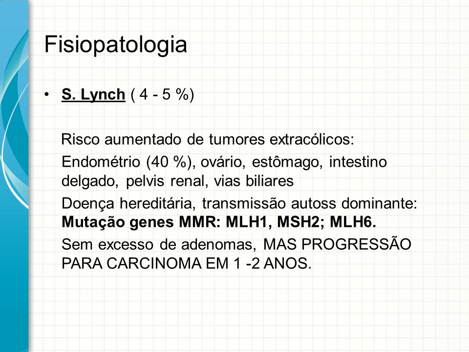 Fisiopatologia S. Lynch ( 4 - 5 %)