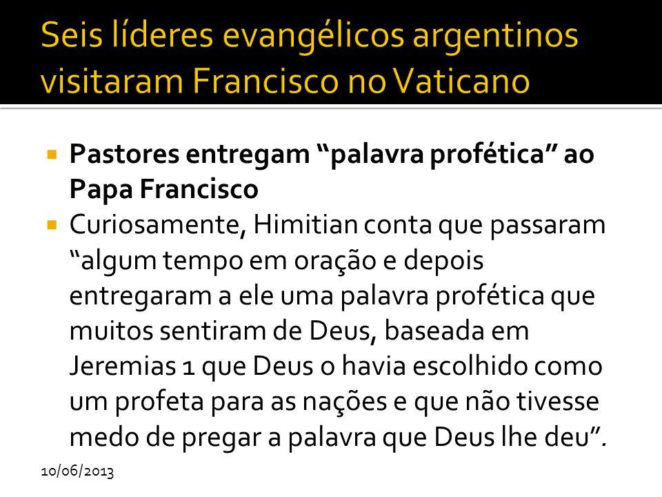 Seis líderes evangélicos argentinos visitaram Francisco no Vaticano