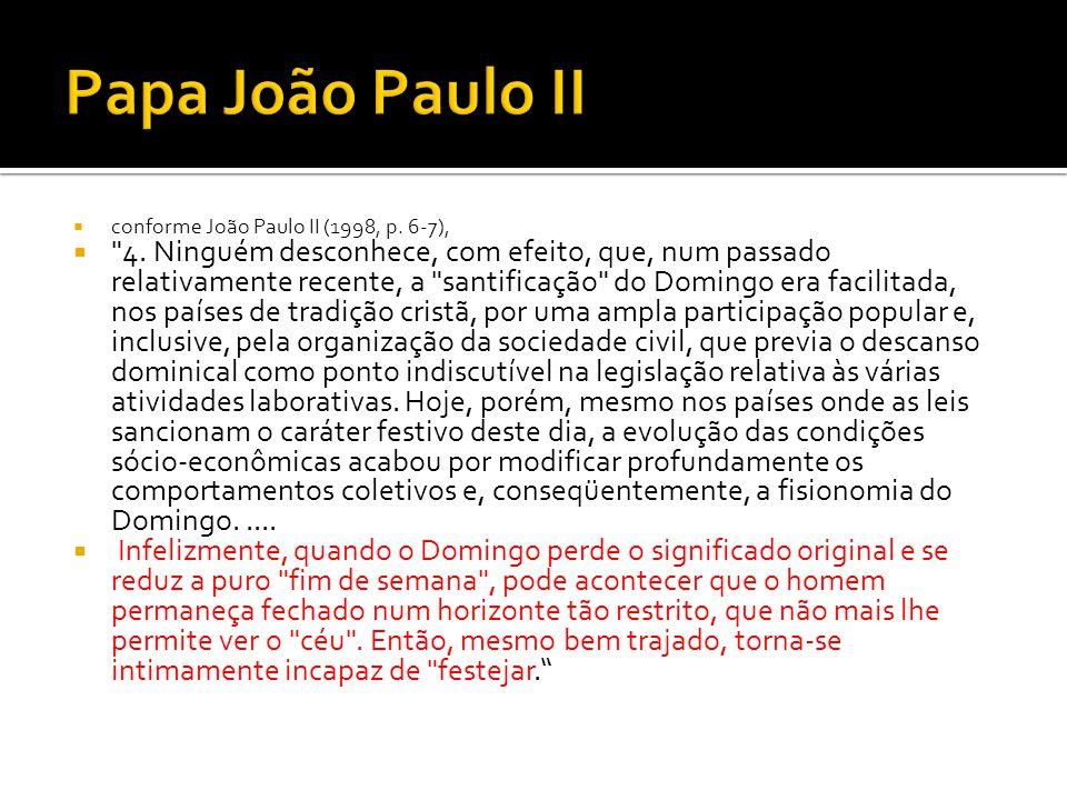 Papa João Paulo II conforme João Paulo II (1998, p. 6-7),