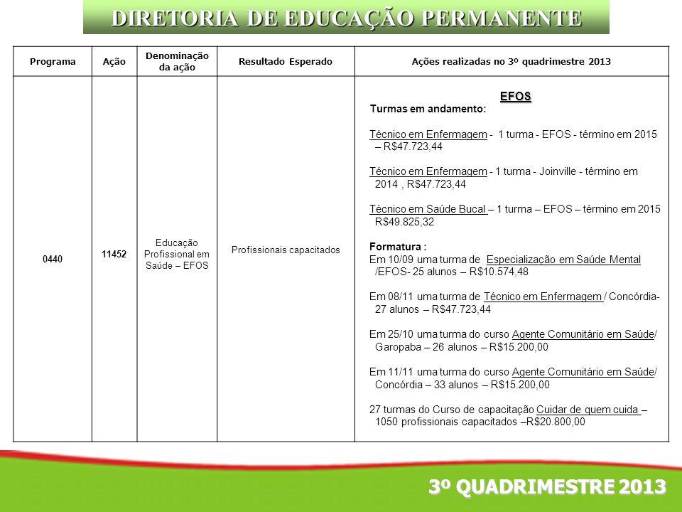 DIRETORIA DE EDUCAÇÃO PERMANENTE
