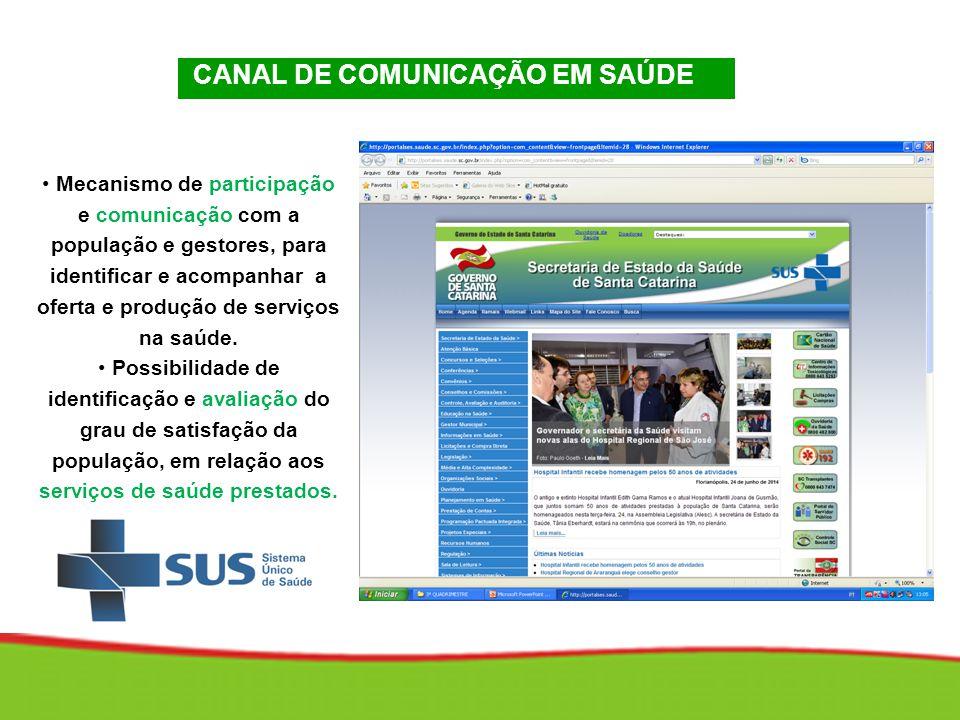 CANAL DE COMUNICAÇÃO EM SAÚDE CANAL DE COMUNICAÇÃO EM SAÚDE