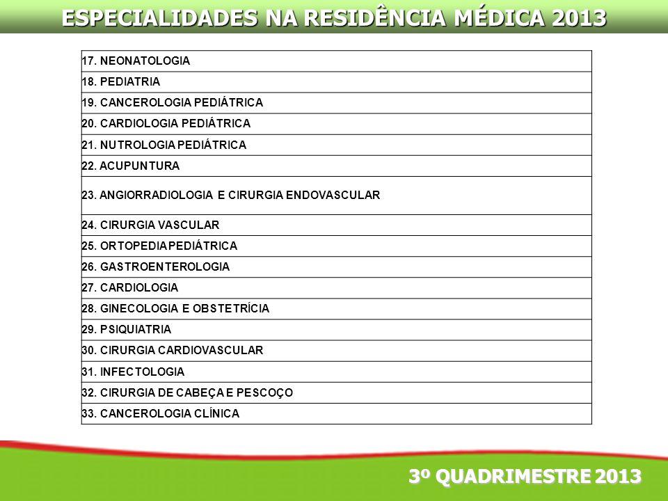 ESPECIALIDADES NA RESIDÊNCIA MÉDICA 2013
