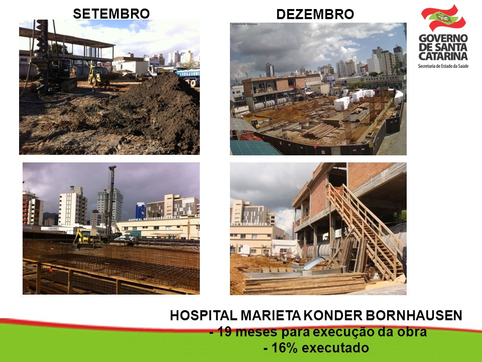 HOSPITAL MARIETA KONDER BORNHAUSEN - 19 meses para execução da obra