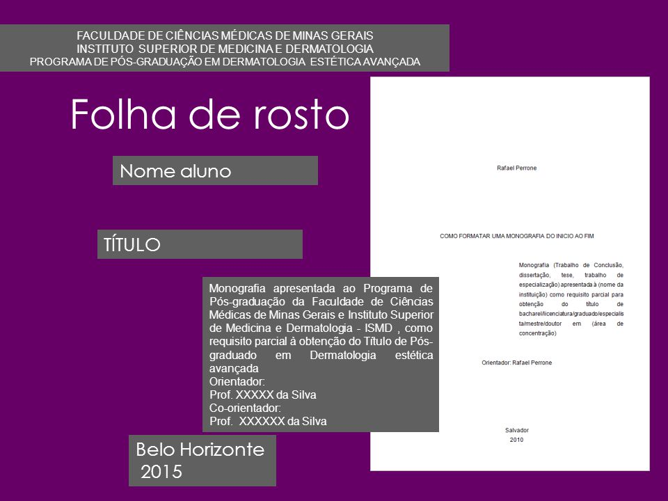 Folha de rosto Nome aluno TÍTULO Belo Horizonte 2015