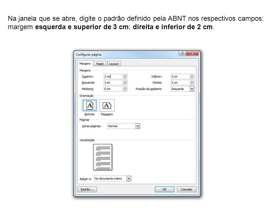 Na janela que se abre, digite o padrão definido pela ABNT nos respectivos campos: