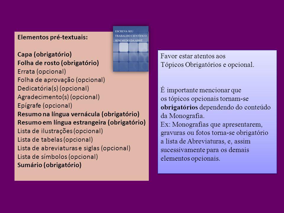 Elementos pré-textuais: