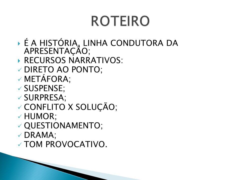 ROTEIRO É A HISTÓRIA, LINHA CONDUTORA DA APRESENTAÇÃO;