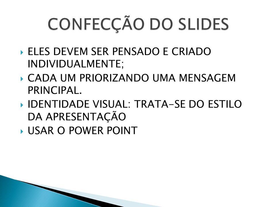 CONFECÇÃO DO SLIDES ELES DEVEM SER PENSADO E CRIADO INDIVIDUALMENTE;