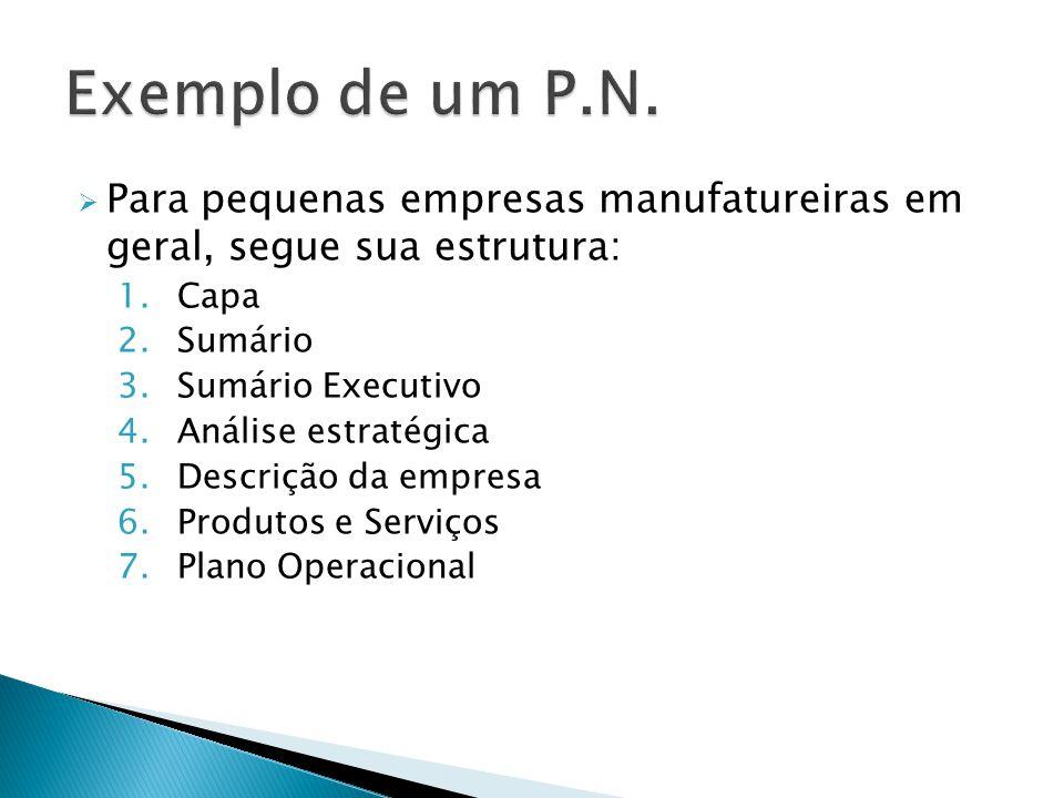 Exemplo de um P.N. Para pequenas empresas manufatureiras em geral, segue sua estrutura: Capa. Sumário.