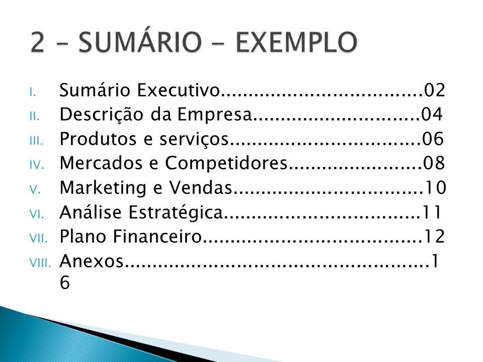 2 – SUMÁRIO - EXEMPLO Sumário Executivo....................................02. Descrição da Empresa..............................04.