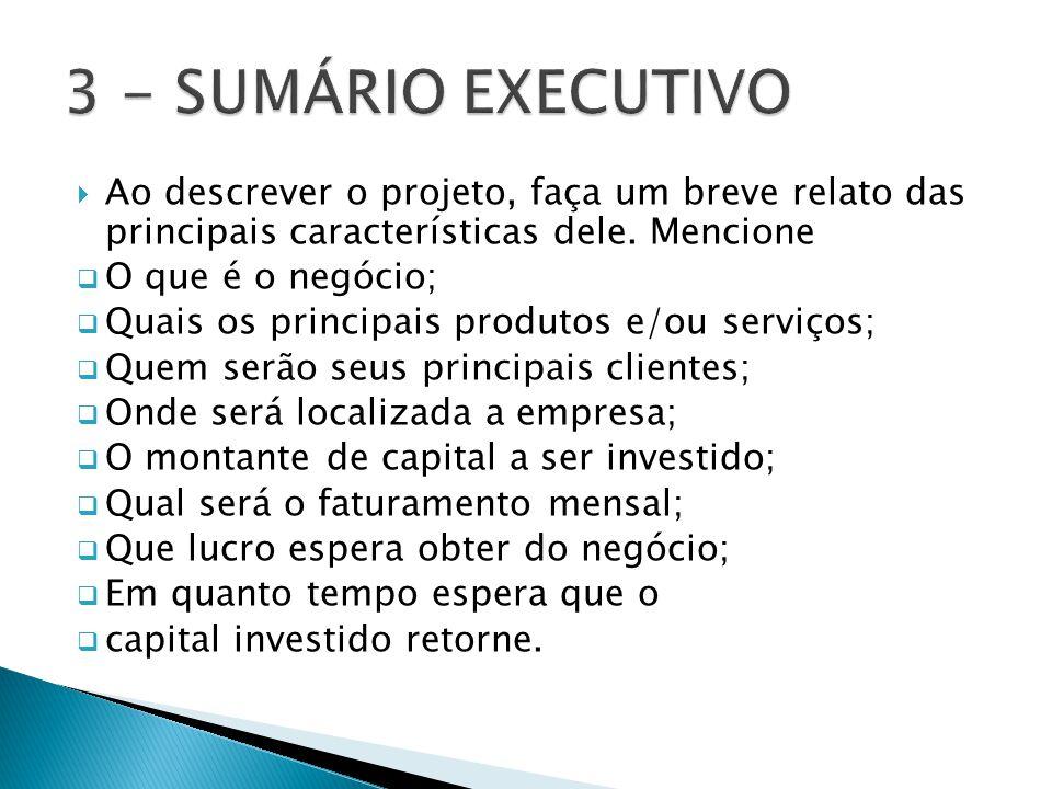 3 - SUMÁRIO EXECUTIVO Ao descrever o projeto, faça um breve relato das principais características dele. Mencione.