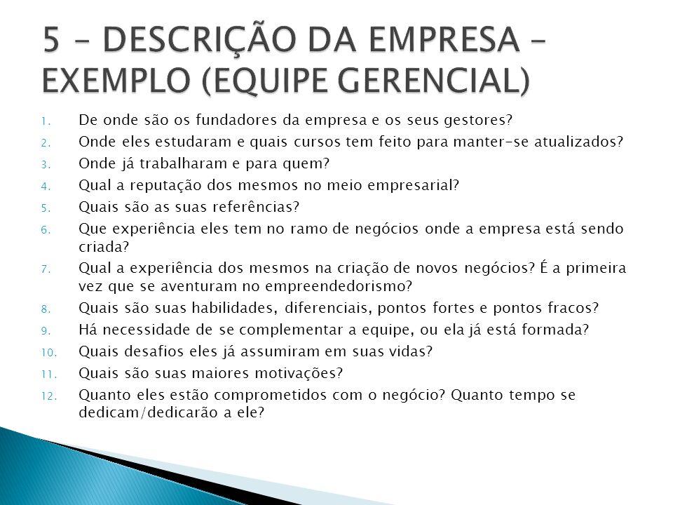 5 – DESCRIÇÃO DA EMPRESA – EXEMPLO (EQUIPE GERENCIAL)