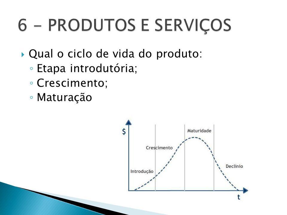 6 - PRODUTOS E SERVIÇOS Qual o ciclo de vida do produto: