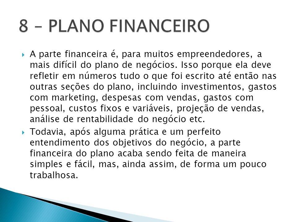 8 – PLANO FINANCEIRO