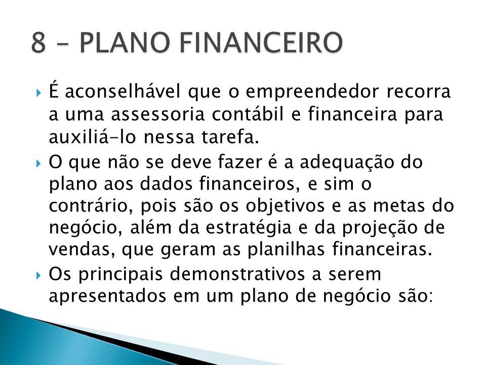 8 – PLANO FINANCEIRO É aconselhável que o empreendedor recorra a uma assessoria contábil e financeira para auxiliá-lo nessa tarefa.