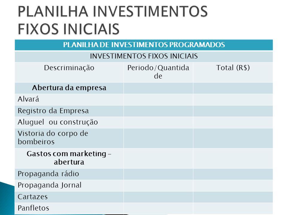 PLANILHA INVESTIMENTOS FIXOS INICIAIS