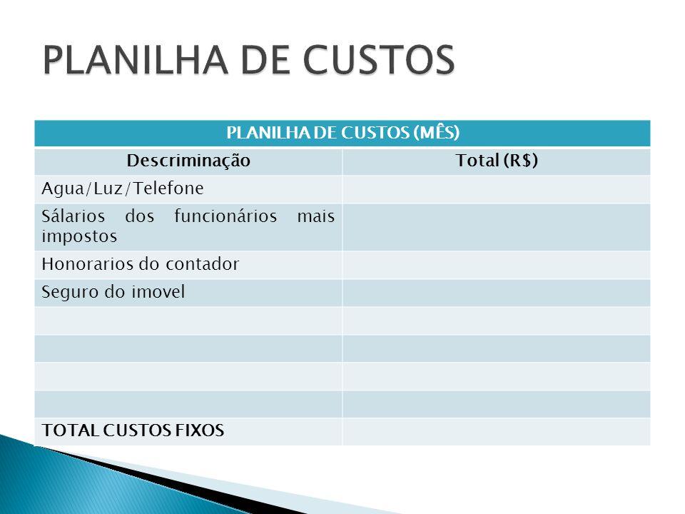PLANILHA DE CUSTOS (MÊS)