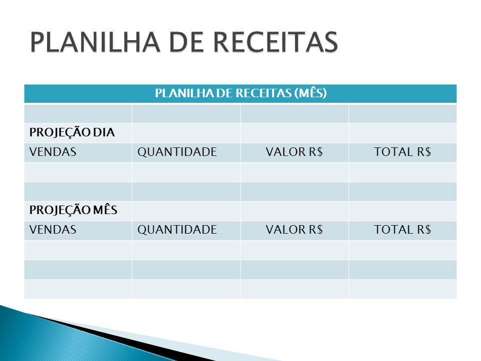 PLANILHA DE RECEITAS (MÊS)
