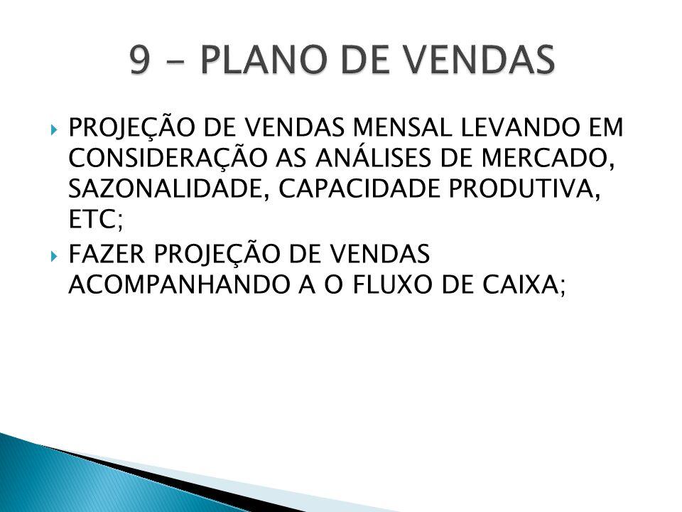 9 - PLANO DE VENDAS PROJEÇÃO DE VENDAS MENSAL LEVANDO EM CONSIDERAÇÃO AS ANÁLISES DE MERCADO, SAZONALIDADE, CAPACIDADE PRODUTIVA, ETC;