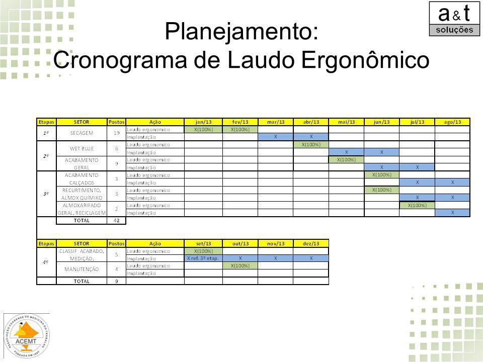 Planejamento: Cronograma de Laudo Ergonômico