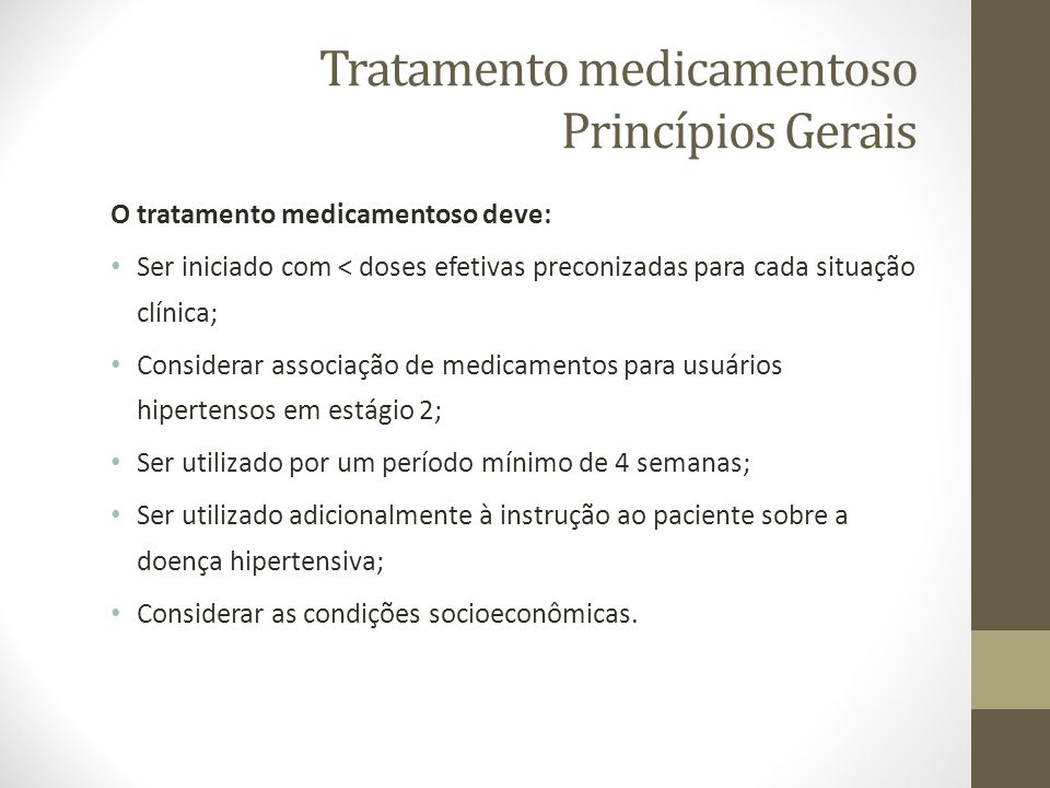 Tratamento medicamentoso Princípios Gerais