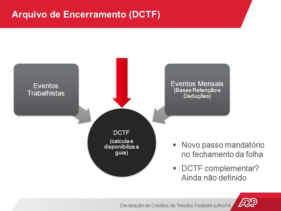 Arquivo de Encerramento (DCTF)
