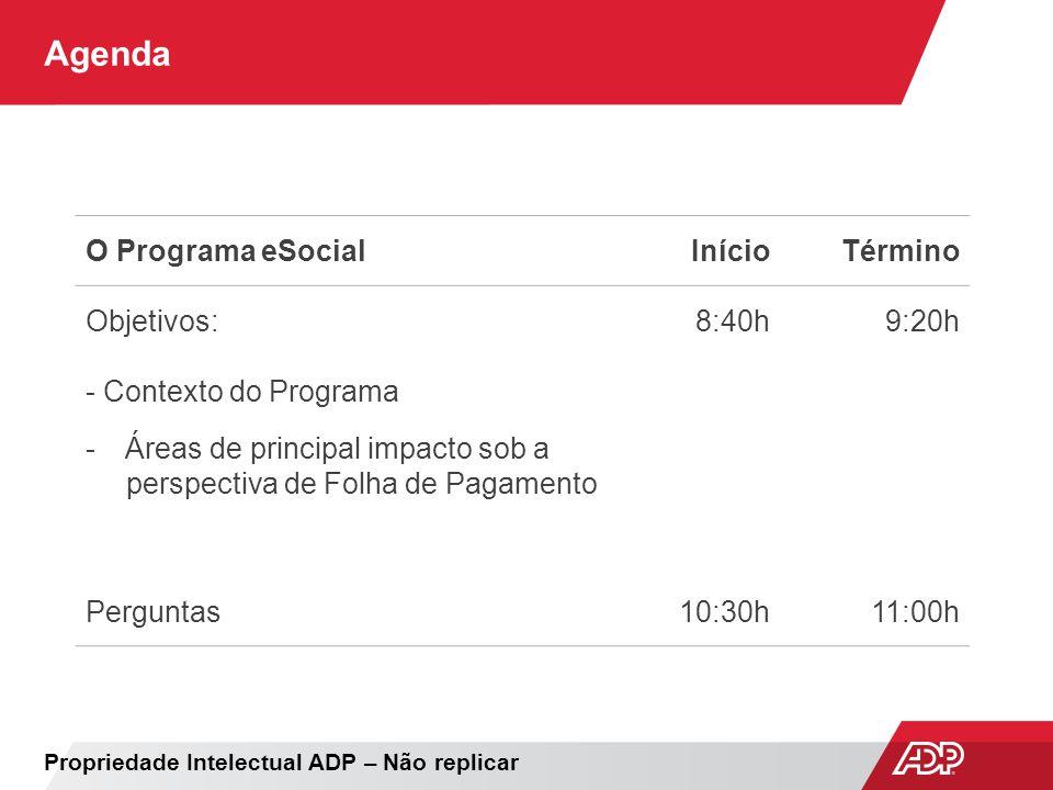 Agenda O Programa eSocial Início Término Objetivos: 8:40h 9:20h