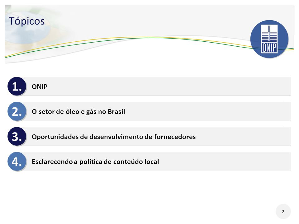 1. 2. 3. 4. Tópicos ONIP O setor de óleo e gás no Brasil