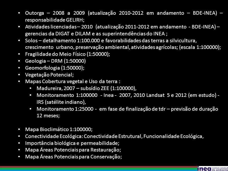 Outorga – 2008 a 2009 (atualização 2010-2012 em andamento – BDE-INEA) – responsabilidade GELIRH;