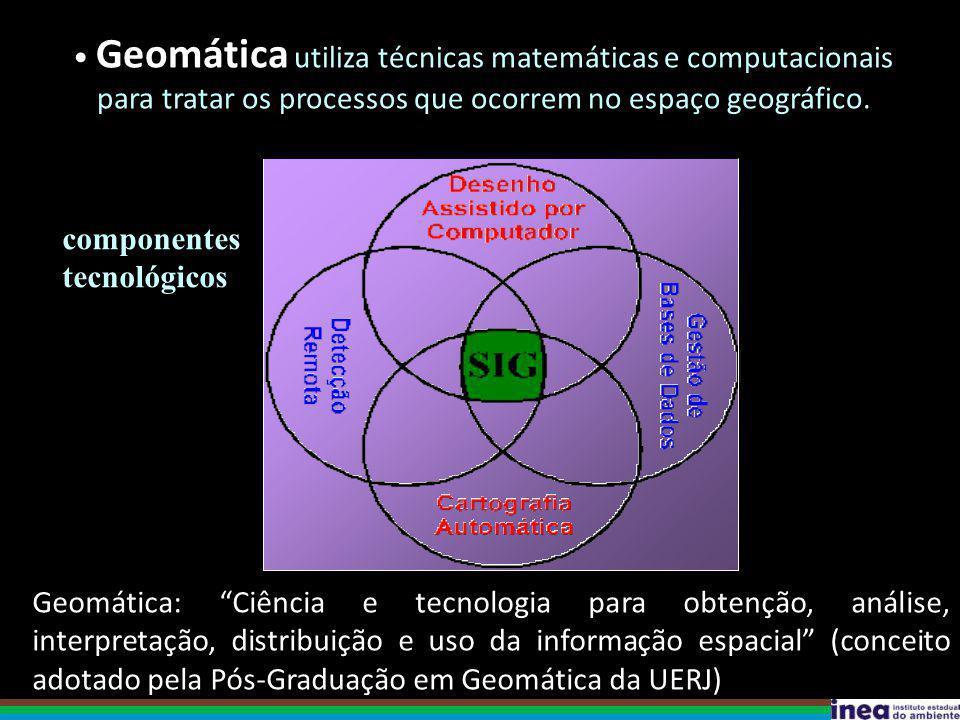Geomática utiliza técnicas matemáticas e computacionais para tratar os processos que ocorrem no espaço geográfico.