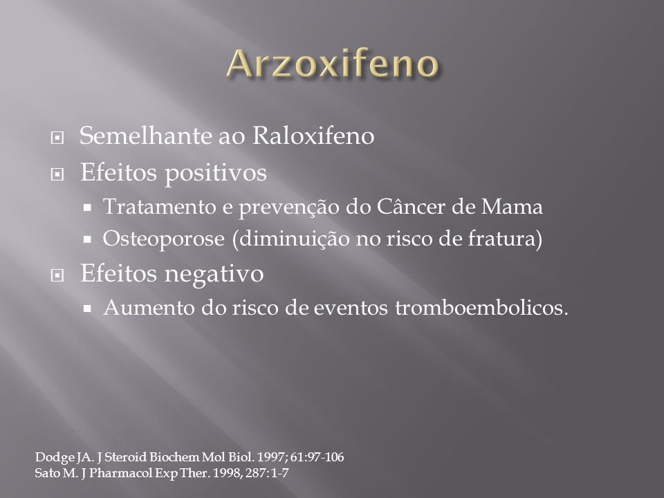 Arzoxifeno Semelhante ao Raloxifeno Efeitos positivos Efeitos negativo