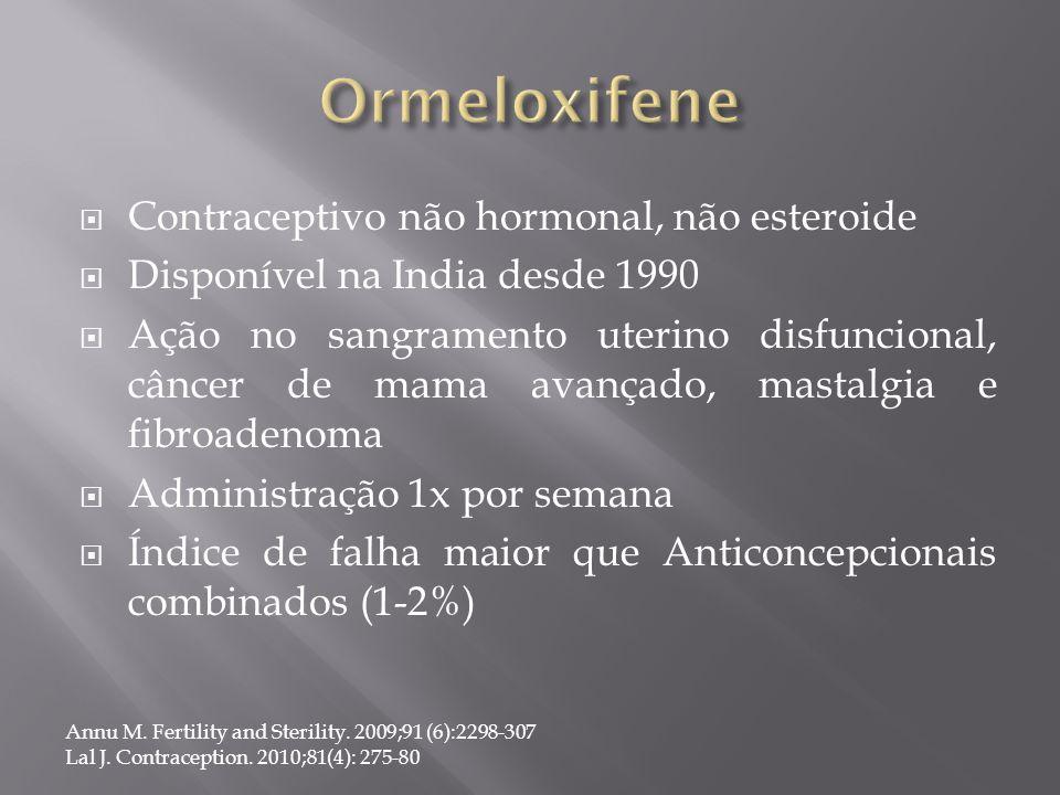Ormeloxifene Contraceptivo não hormonal, não esteroide