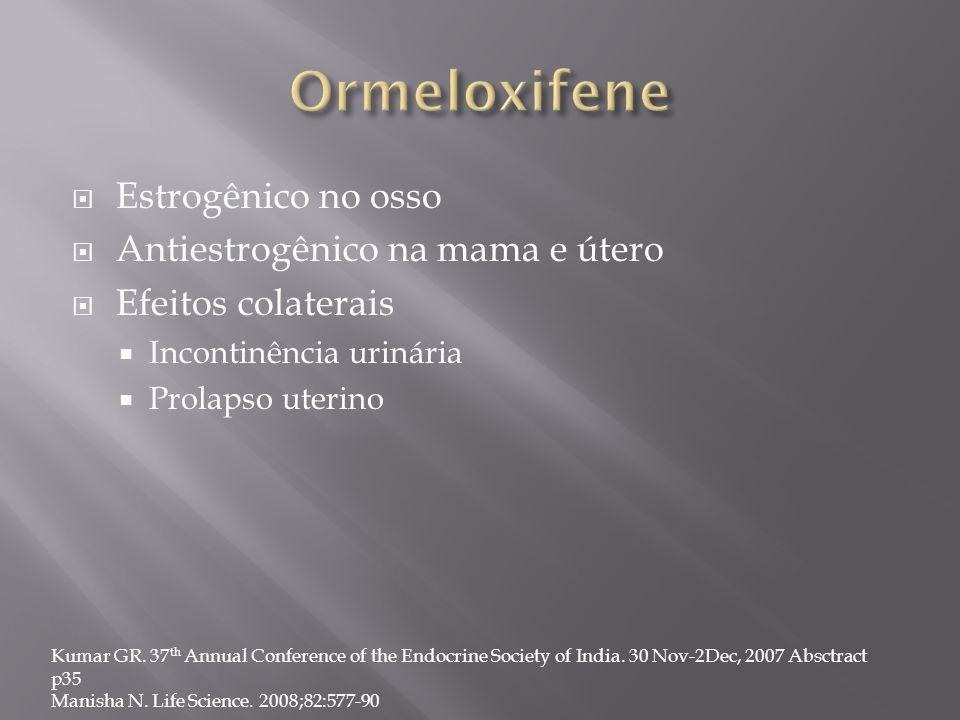 Ormeloxifene Estrogênico no osso Antiestrogênico na mama e útero