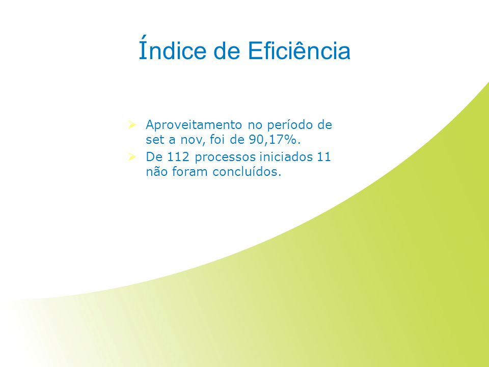 Índice de Eficiência Aproveitamento no período de set a nov, foi de 90,17%.