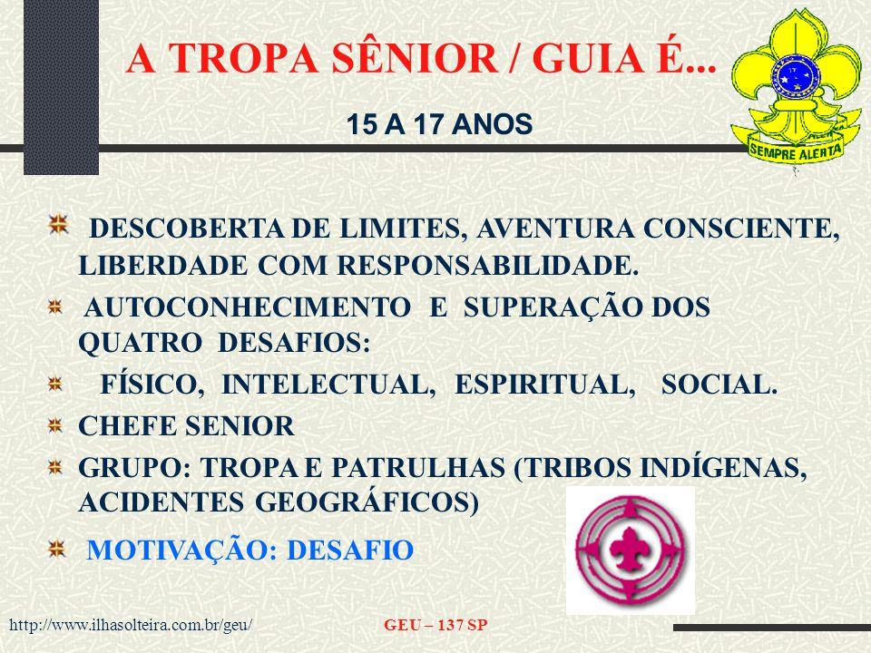 A TROPA SÊNIOR / GUIA É... 15 A 17 ANOS. DESCOBERTA DE LIMITES, AVENTURA CONSCIENTE, LIBERDADE COM RESPONSABILIDADE.