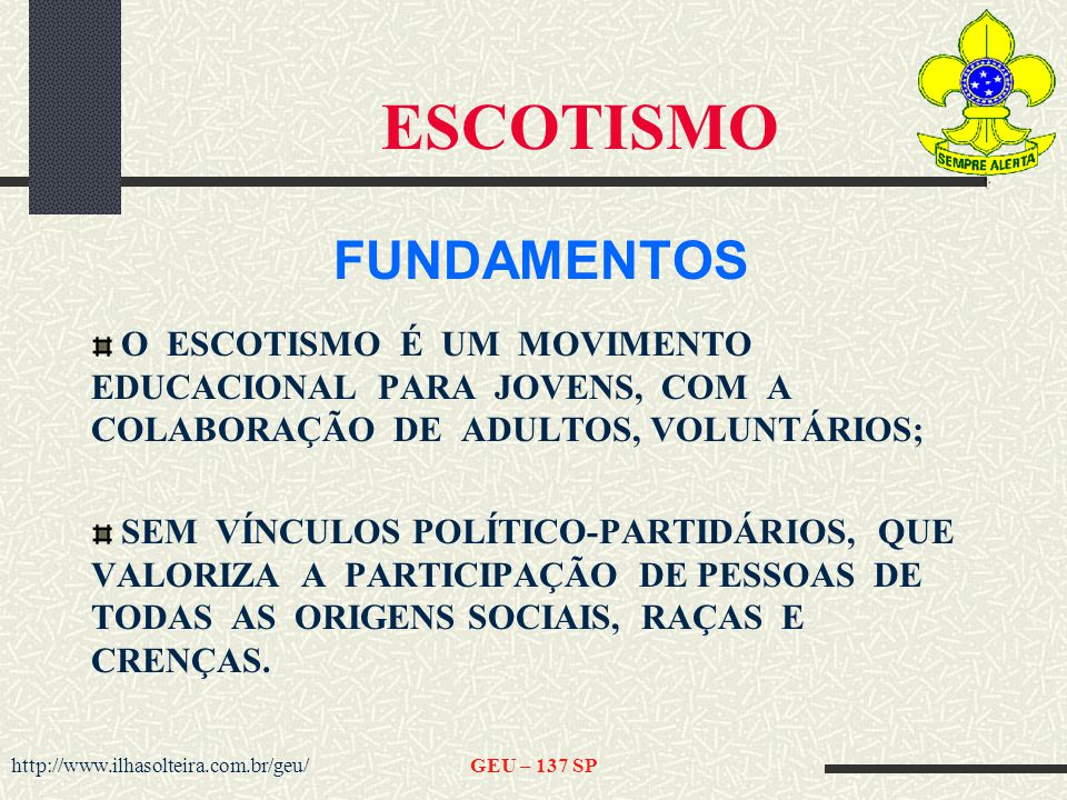 ESCOTISMO FUNDAMENTOS