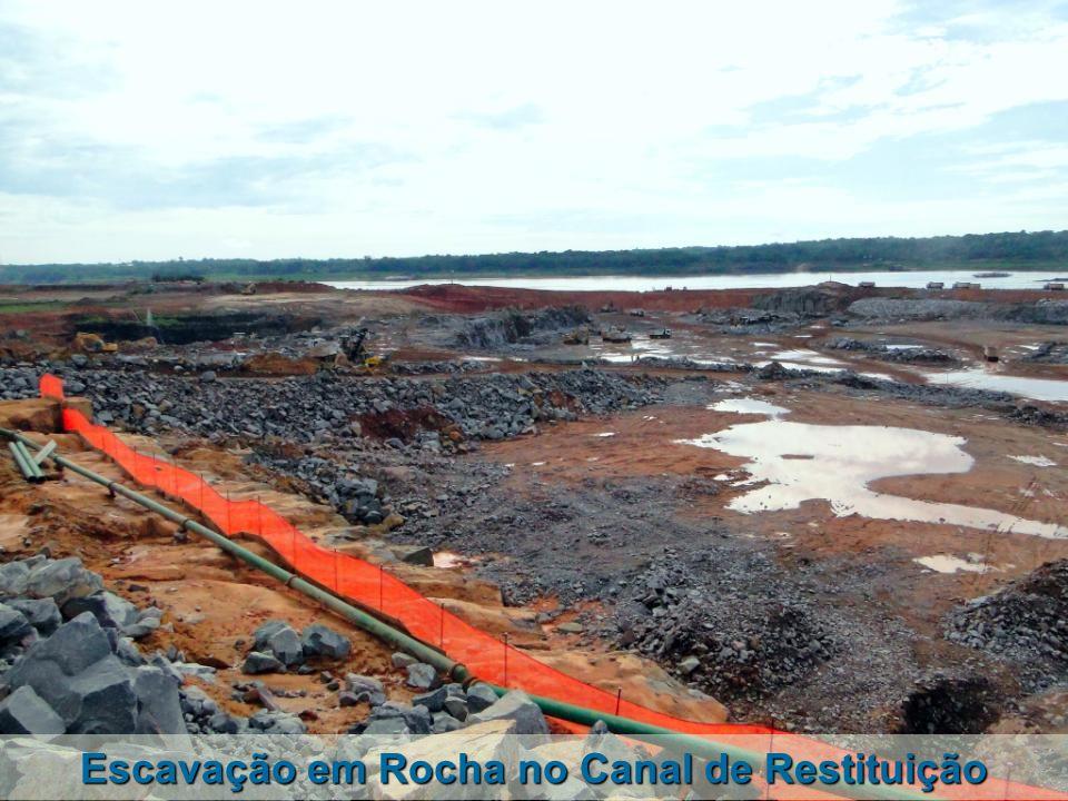Escavação em Rocha no Canal de Restituição