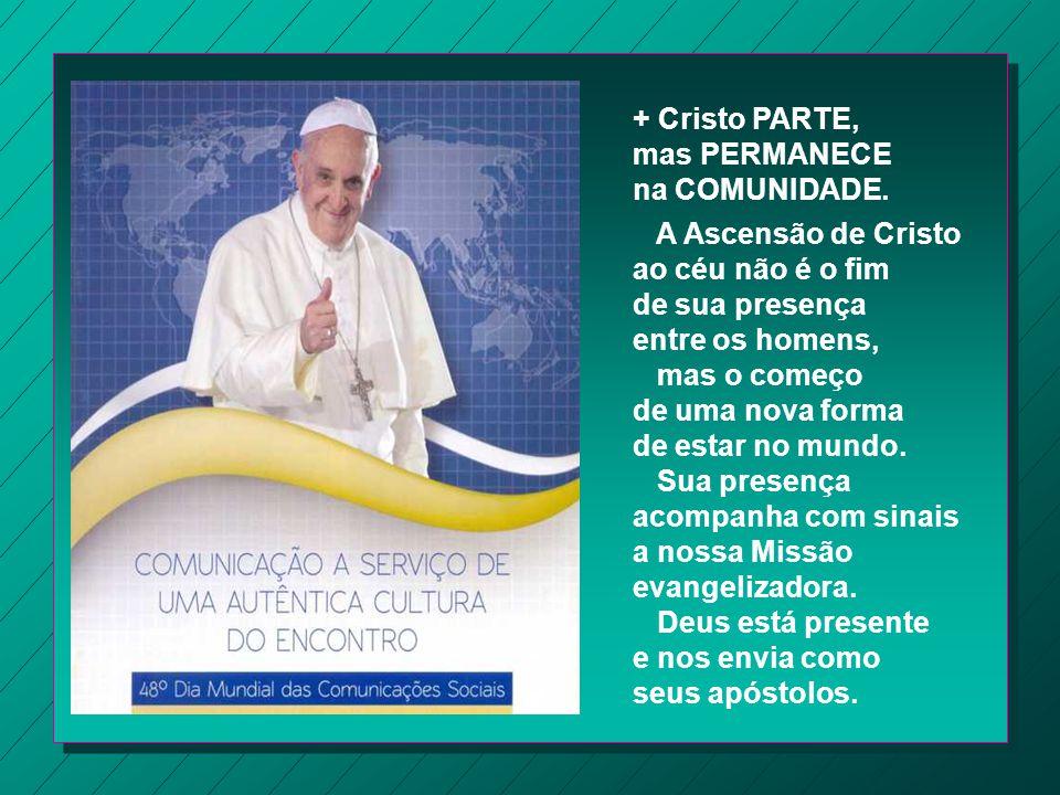 + Cristo PARTE, mas PERMANECE. na COMUNIDADE. A Ascensão de Cristo. ao céu não é o fim. de sua presença.