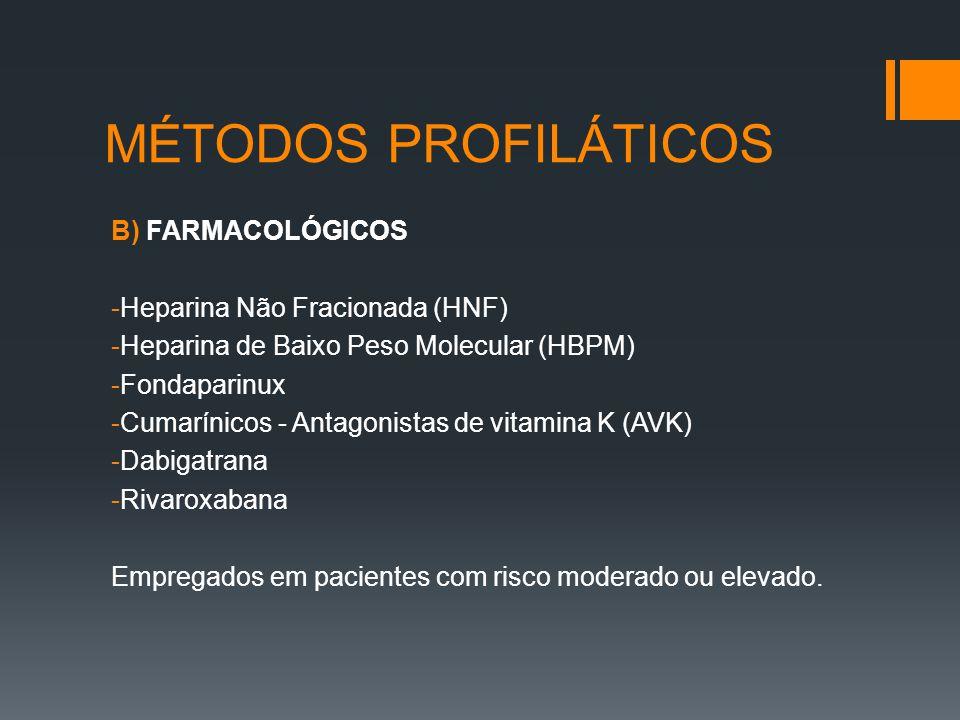 MÉTODOS PROFILÁTICOS B) FARMACOLÓGICOS Heparina Não Fracionada (HNF)