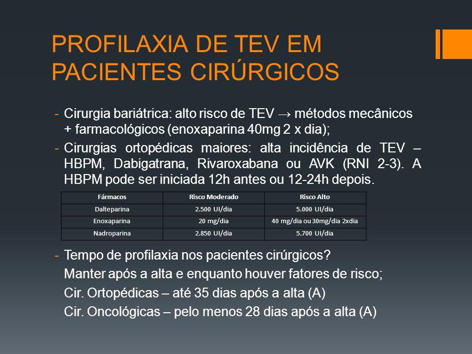 PROFILAXIA DE TEV EM PACIENTES CIRÚRGICOS