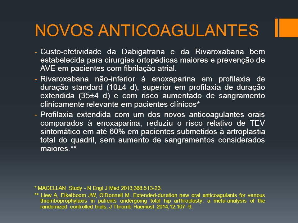 NOVOS ANTICOAGULANTES
