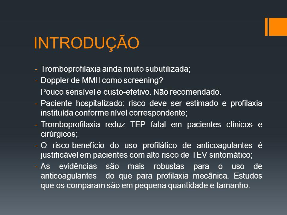 INTRODUÇÃO Tromboprofilaxia ainda muito subutilizada;