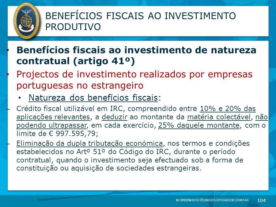 BENEFÍCIOS FISCAIS AO INVESTIMENTO PRODUTIVO