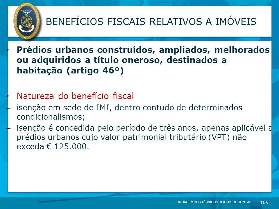 BENEFÍCIOS FISCAIS RELATIVOS A IMÓVEIS