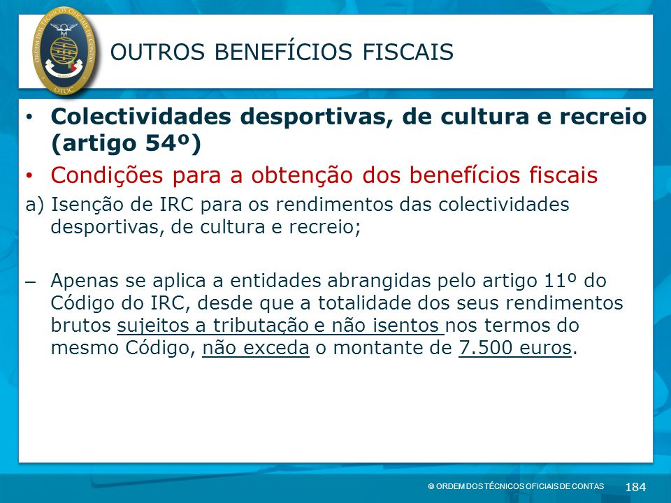 OUTROS BENEFÍCIOS FISCAIS