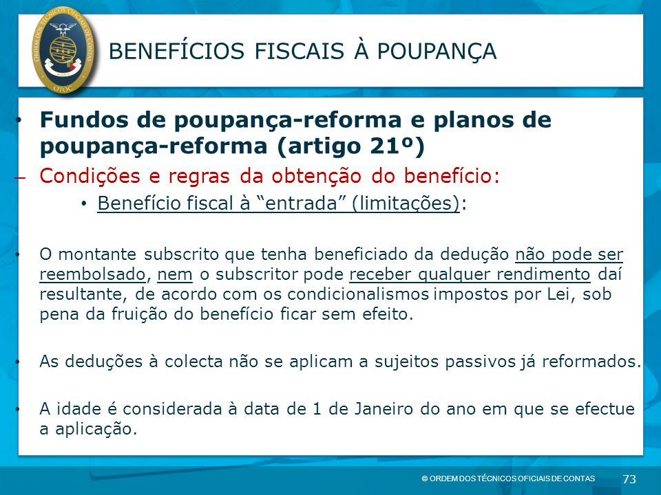 BENEFÍCIOS FISCAIS À POUPANÇA