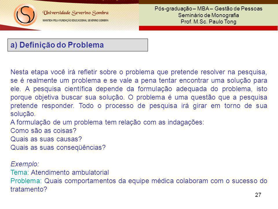 a) Definição do Problema