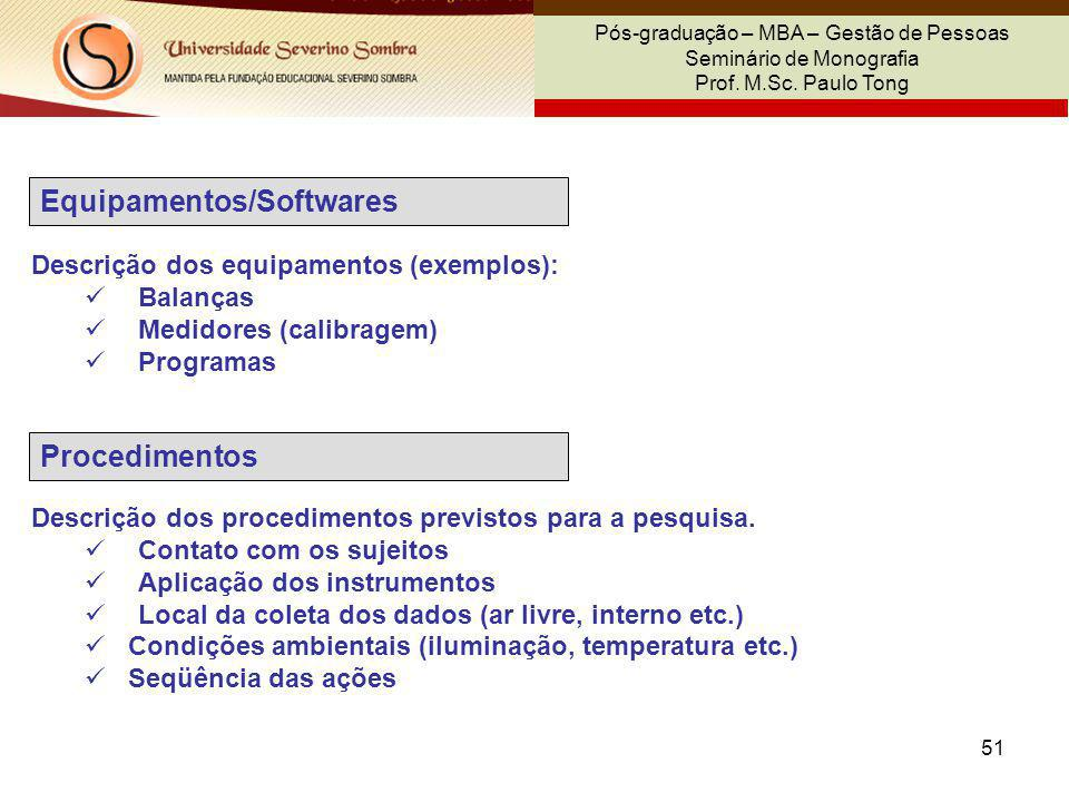 Equipamentos/Softwares