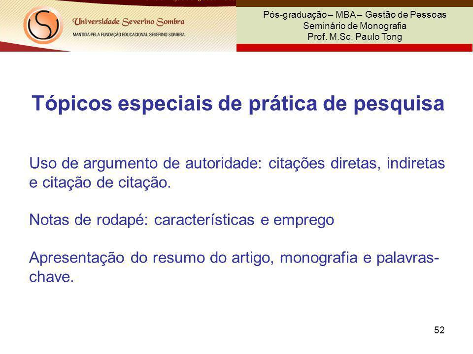 Tópicos especiais de prática de pesquisa